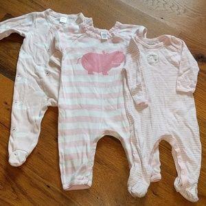 3 Pink Nordstrom baby Footies/bodysuits